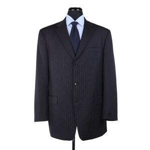 Hart Schaffner Marx 3-Btn Suit Black Striped 44L